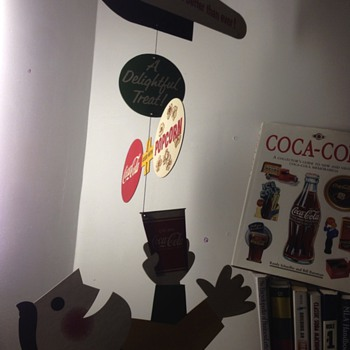 Coca Cola 1957 mobile hanging theatre cardboard sign