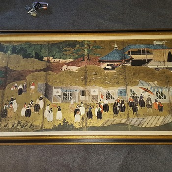 "New York Gallery Society 1950s/60s Gold Leaf Repro Painting (not print) of 17th century Japanese kano momoyama namban ""Portuges"