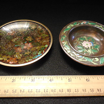 Chinese Cloisonne and Cloisonne look Small Brass Dishes