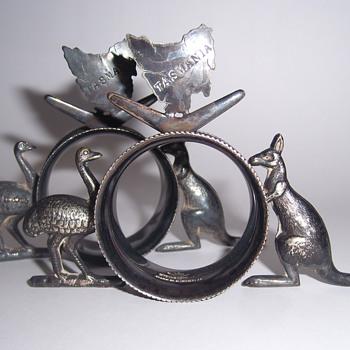 EMU & KANGAROO NAPKIN RINGS - STOKES & SONS - Australia EPNS