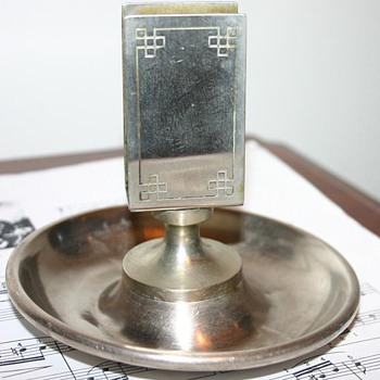 Old Metal Ashtray with match box holder - Tobacciana