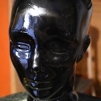 Life-size Black Glass Head
