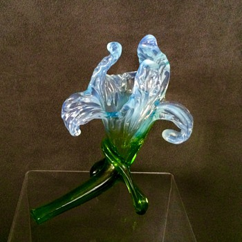 Kralik Blue Green Opalescent Floriform Vase #2  - Art Glass
