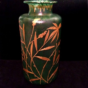 Loetz Cisele Vase With Gold Bamboo Decor - Art Glass