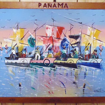 Panama oil folk art painting and carved frame - Folk Art