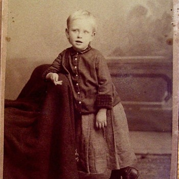Late 1870s-80s LITTLE BOY IN ALMOST TROUSERS  FOR THE FIRST TIME