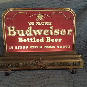 Lighted Antique Budweiser (Back Bar) Sign