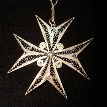 Sterling Filigreed Maltese Cross Pendant