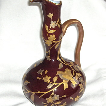 Oxblood Glass Ewer by Harrach Superb Mixed Metal Enamel Asian Decor
