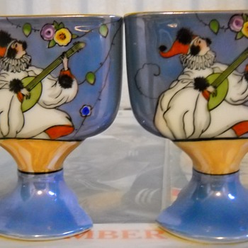 Noritake Hand Painted Pierrot Lusterware  Mini Vases