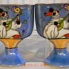 Noritake Hand Painted Pierrot Lusterware  Mini Vases