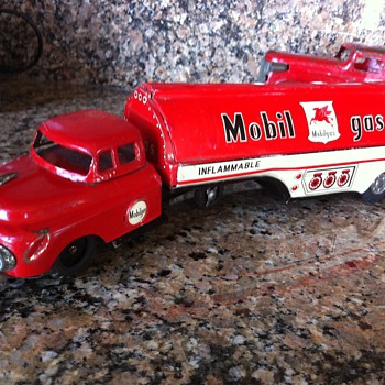 1959 Japan tin friction Mobil Gas Tanker - Toys