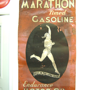 Vintage Marathon Gasoline Sign  - Signs