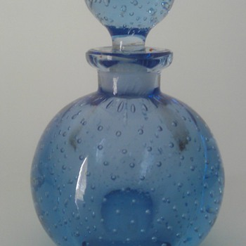 Vintage Czech CONTROLLED BUBBLES Blue Art Glass Perfume Bottle handblown w/Dauber