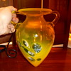 Art Glass Vaseline Vase with Stand