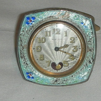 Guilloche enamel on silver swiss clock Ralco