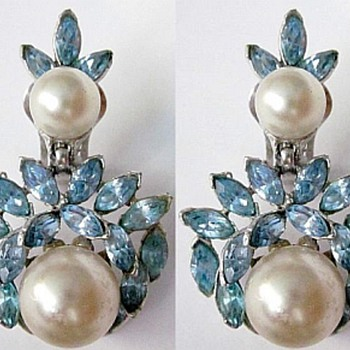 Bogoff Rhinestone & Pearl Earrings - Costume Jewelry