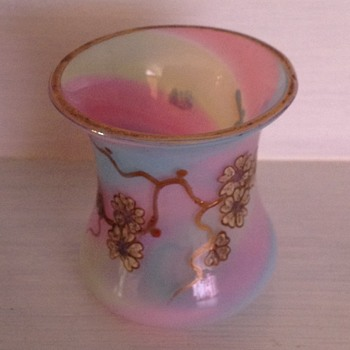 Bohemian opaline rainbow swirl hand painted miniature vase