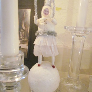 "Girl on Snowball Skipping Rope, Antique? American Candle Holder, ""Snowball Santa"""