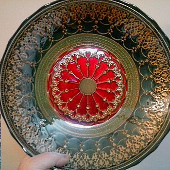 "Turkish Art Glass 12"" Centerpiece Bowl ""Topkapi Collection""/Reverse Hand Painted/Circa 21st Century - Art Glass"