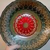 "Turkish Art Glass 12"" Centerpiece Bowl ""Topkapi Collection""/Reverse Hand Painted/Circa 21st Century"