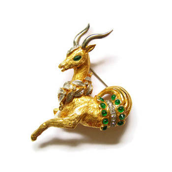 Vintage Kenneth Jay Lane K.J.L. Jeweled Capricorn Brooch Pin