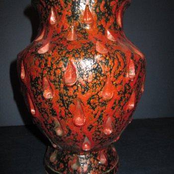 Italian Orange and Black Vase