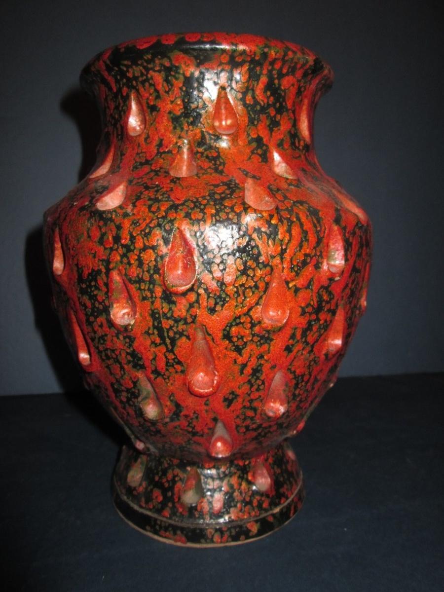 Italian orange and black vase collectors weekly for Orange vase