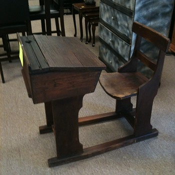 School house wooden student desk