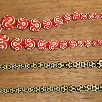 Carved celluloid necklaces & bracelet - Costume Jewelry