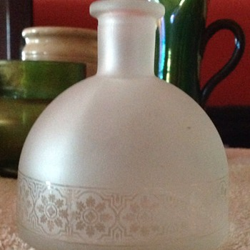 Frosted, acid etched? glass (early machine made?) bottle