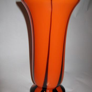 Czechoslovakia Orange Tango art glass vase Kralik Flame design - Art Glass