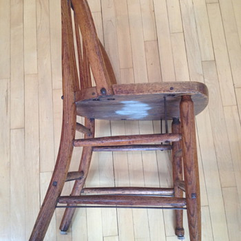 old oak chair from Willard Asylum for the Insane. Willard NY in the finger lakes
