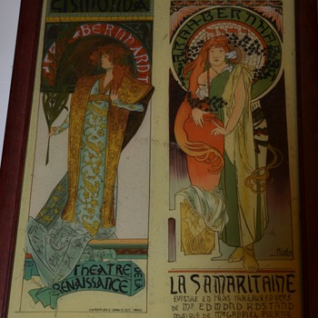 Unknown Mystery French Art Nouveau Mucha Alphonse Picture (on glass?) Original? 