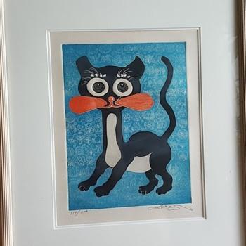 """Motoi Oi Embossed Print """"Black Kitten"""" - Visual Art"""