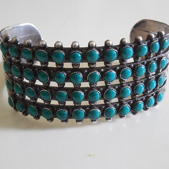 Petit Point Turquoise Cuff - Fine Jewelry