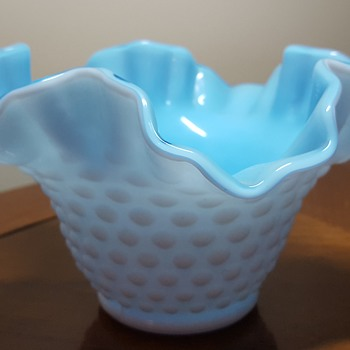 Kanawha blue and hobnail milk glass bowl
