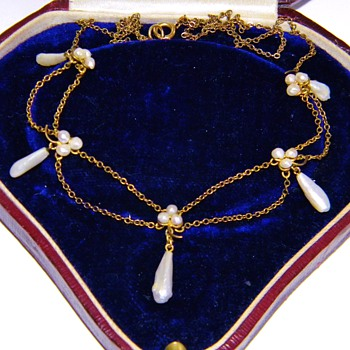 Antique Georgian Mississippi Pearl Seed Pearl Festoon 12k Necklace - Fine Jewelry