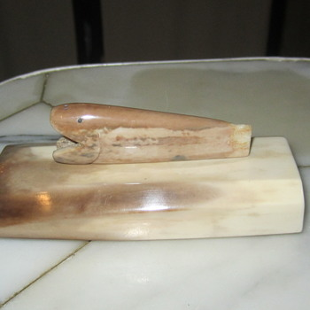 "Alaskan Eskimo Polished Walrus Tusk ""Fish on Pedestal"" - Folk Art"