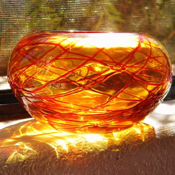 Murano? Bohemian? Orange Threaded Bowl HELP?  Polished Pontil - Art Glass