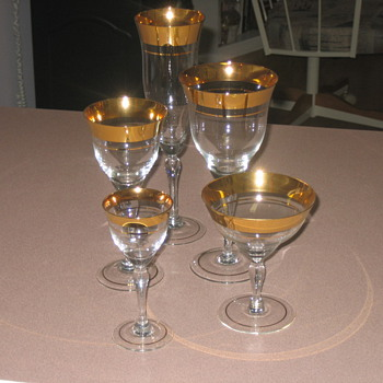 Antique gold rim glass set - Glassware