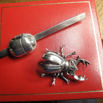 Vintage Silver Insect Brooch and Silver Scarab Tie Pin - Costume Jewelry