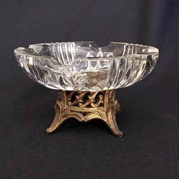 American Brilliant Glass with Brass Footing Ashtray - Tobacciana