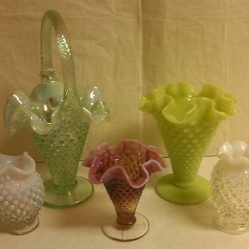 Display of Fenton Vases and Basket: Plum Opal Hobnail mini vase! 