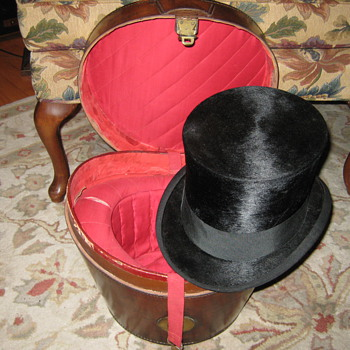 Leather Hillgate & Co. Top Hat Case w/Orginal Hat - Hats