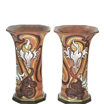 a pair of art nouveau stonware vase by EMILE DIFFLOTH  - Art Nouveau