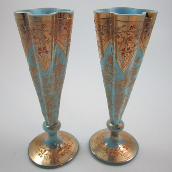 Moser Enameled and Gilded Vases, circa 1885 - Art Glass
