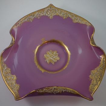 Victorian-era Loetz enameled platter, ca. 189os - Art Glass
