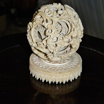 Antique Chinese Carved Dragon Ivory Mystery Ball W/Ivory Stand Great Grandfathers Treasure