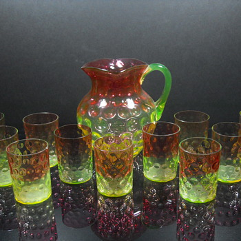 Hobbs Brockunier Rubina Verde Polka Dot grouping - Art Glass